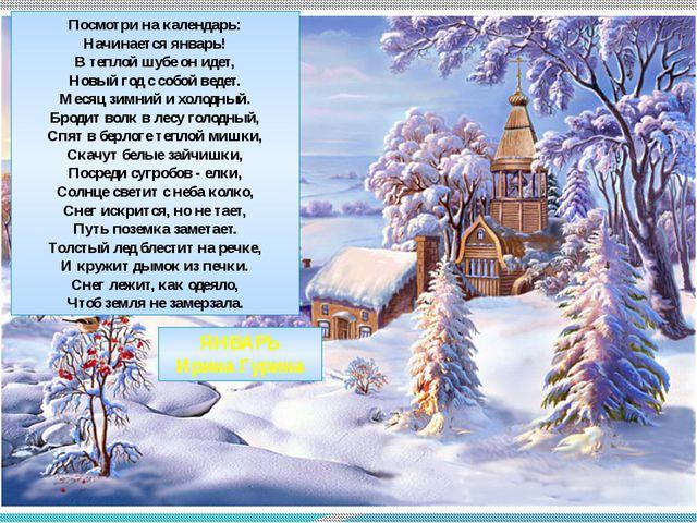 Посмотри на календарь: Начинается январь! В теплой шубе он идет, Новый год с...