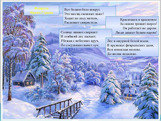 Февраль Ирина Гурина Все белым-бело вокруг. Это месяц снежных вьюг! Ходит по...
