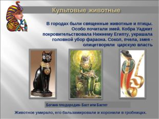 Богиня плодородия- Баст или Бастет В городах были священные животные и птицы.