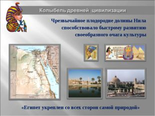 Чрезвычайное плодородие долины Нила способствовало быстрому развитию своеобра