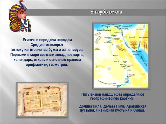 Пв Пять видов ландшафта определяют географическую картину: долина Нила, дельт...