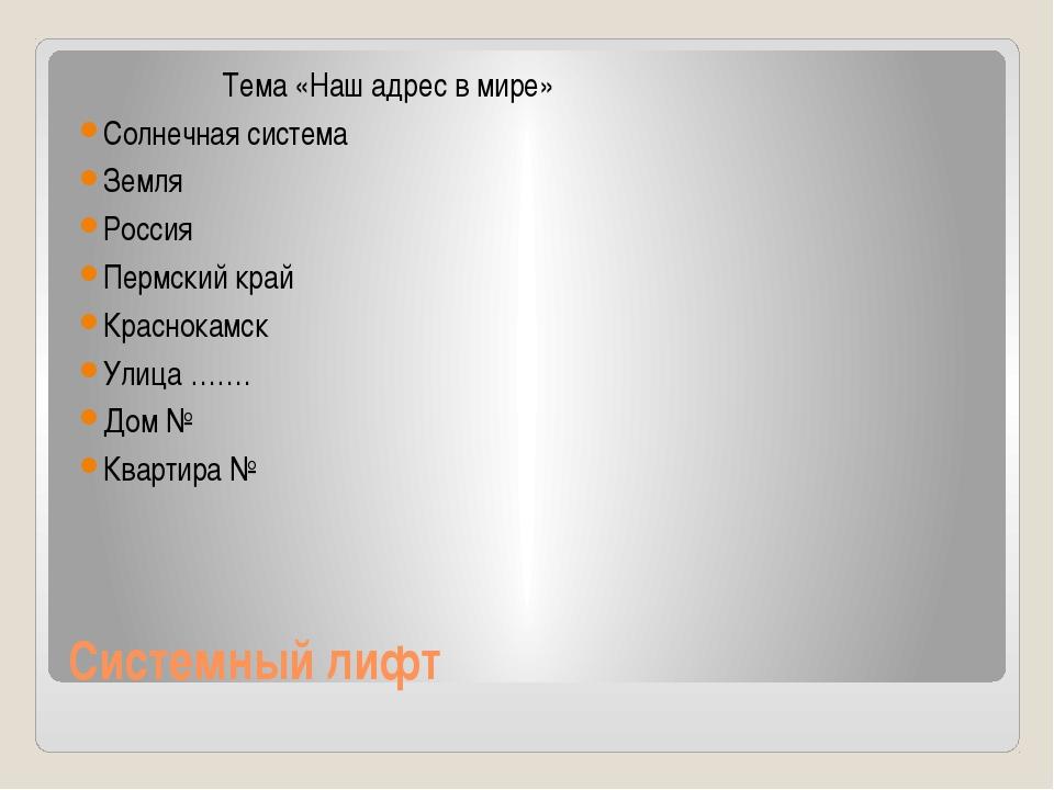 Системный лифт Тема «Наш адрес в мире» Солнечная система Земля Россия Пермски...