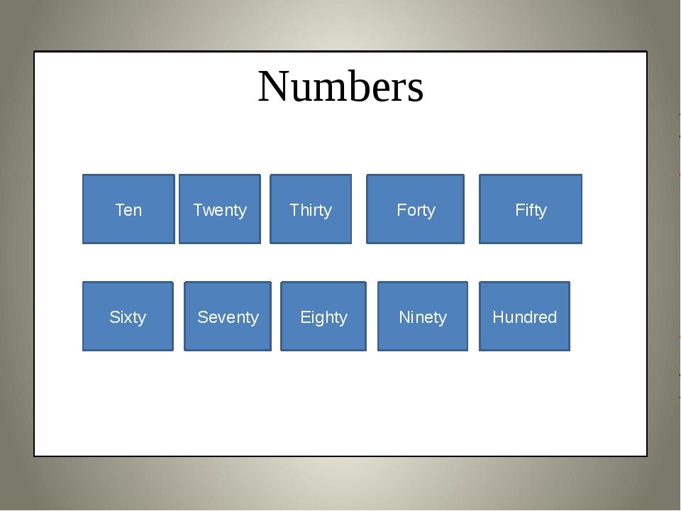 Numbers Ten Twenty Thirty Forty Fifty Sixty Seventy Eighty Ninety Hundred