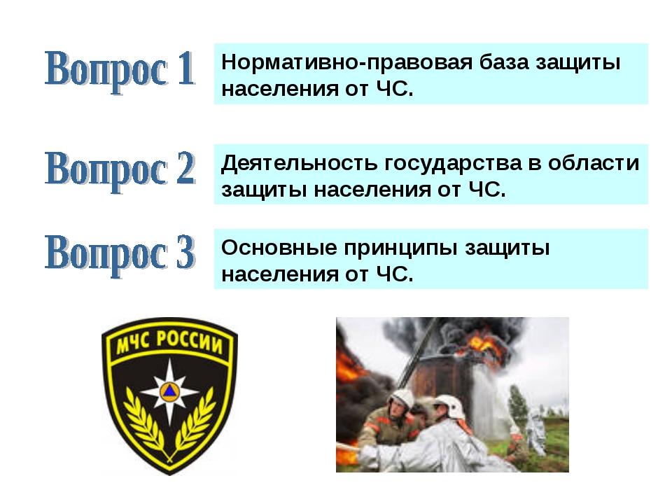 Основные принципы защиты населения от ЧС. Деятельность государства в области...