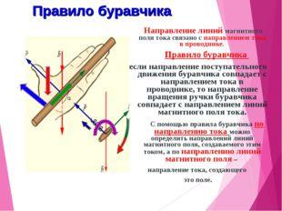 Правило буравчика  Направление линий магнитного поля тока связано с направл