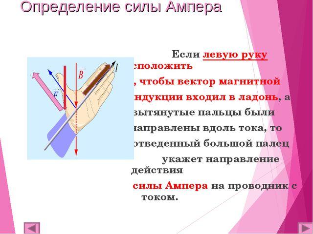 Определение силы Ампера Если левую руку расположить  так, чтобы вектор магни...
