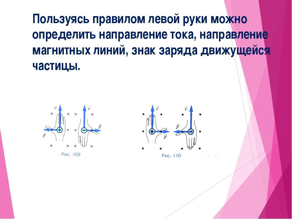 Пользуясь правилом левой руки можно определить направление тока, направление...