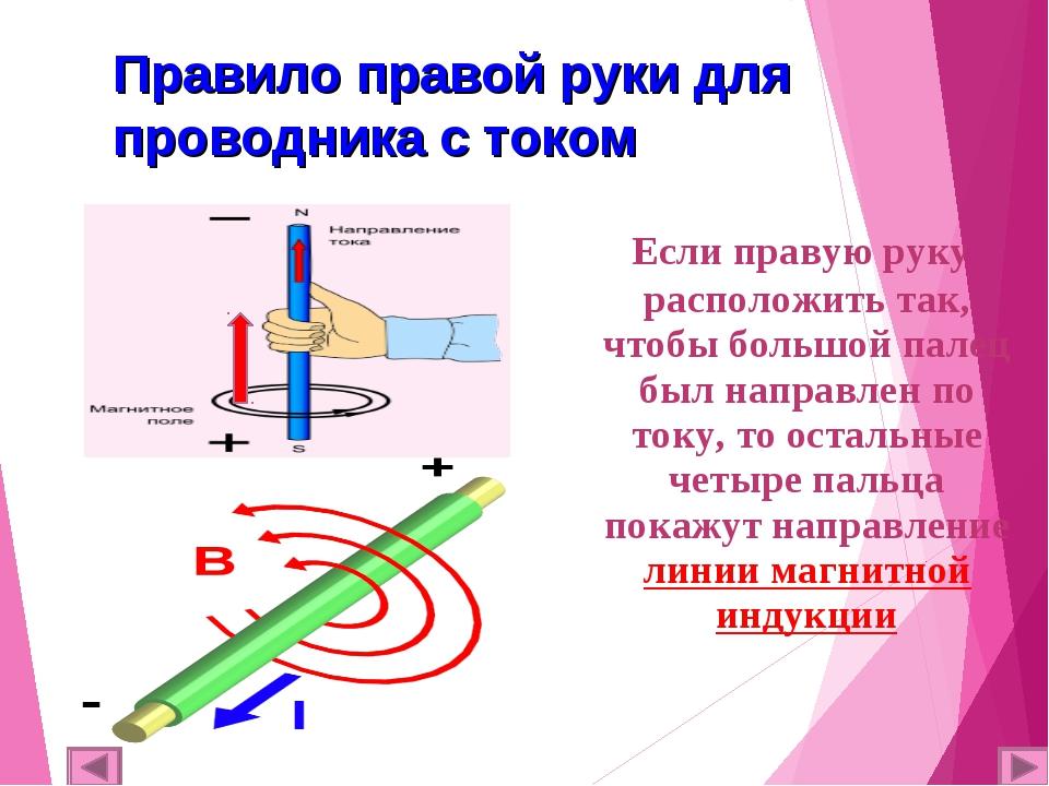 Правило правой руки для проводника с током Если правую руку расположить так,...