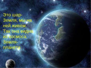 Это шар-Земля, мы на ней живем. Так она видна из космоса. Земля-планета