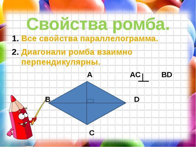 Свойства ромба. Все свойства параллелограмма. Диагонали ромба взаимно перпенд...