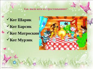 Как звали кота из Простоквашино? Кот Шарик Кот Барсик Кот Матроскин Кот Мурзик