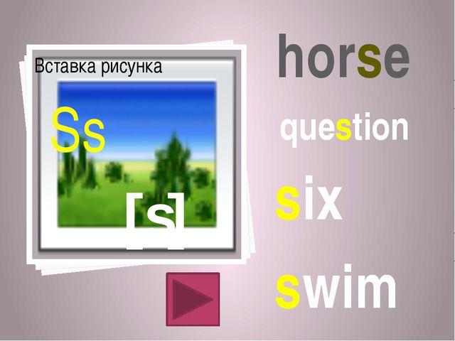 [s] Ss horse question six swim