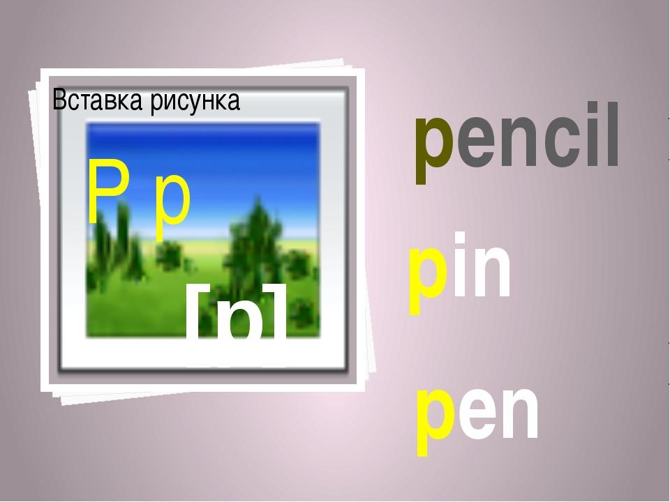 [p] P p pencil pin pen