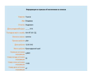 Информация из приказа об исключении из списков Фамилия Ушаков Имя Владимир О