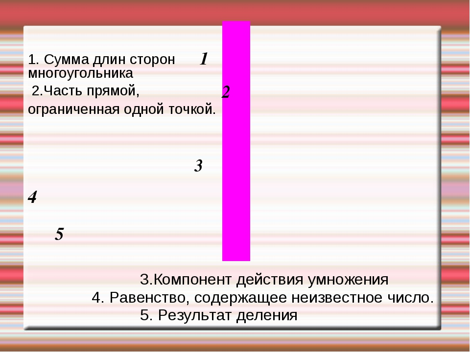 3.Компонент действия умножения 4. Равенство, содержащее неизвестное число. 5...