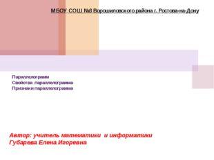 Параллелограмм Свойства параллелограмма Признаки параллелограмма МБОУ СОШ №3