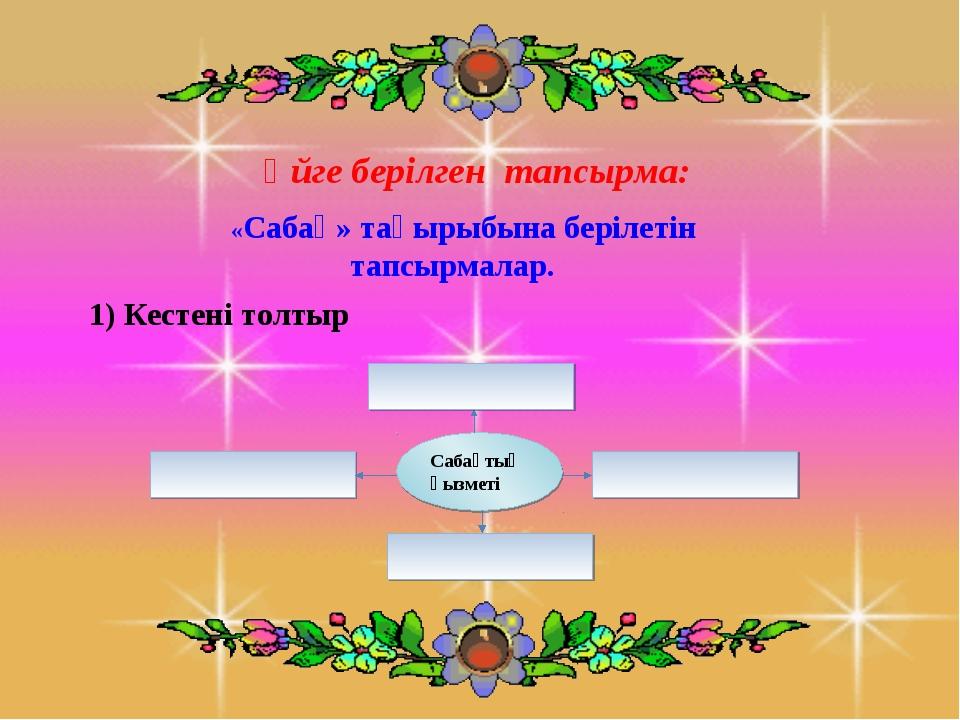 Үйге берілген тапсырма: «Сабақ» тақырыбына берілетін тапсырмалар. 1) Кестені...