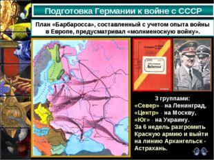 Подготовка Германии к войне с СССР План «Барбаросса», составленный с учетом о