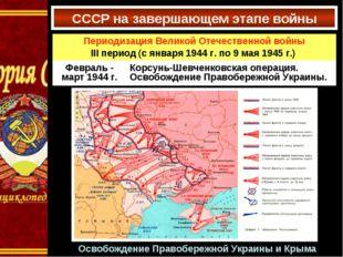 СССР на завершающем этапе войны Освобождение Правобережной Украины и Крыма