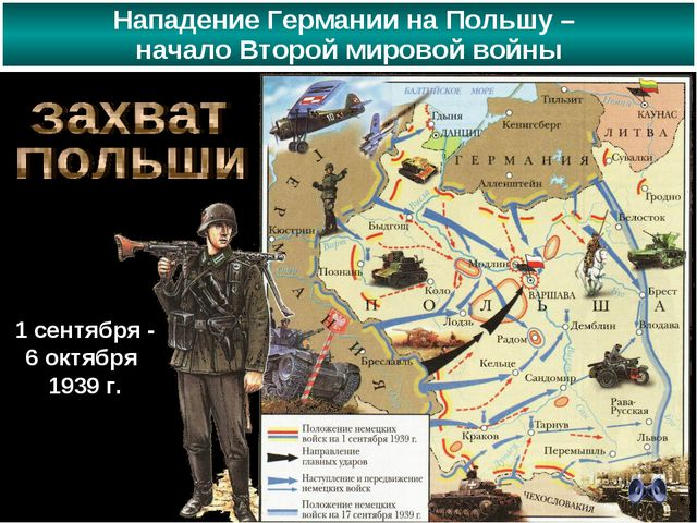Нападение Германии на Польшу – начало Второй мировой войны 1 сентября - 6 окт...