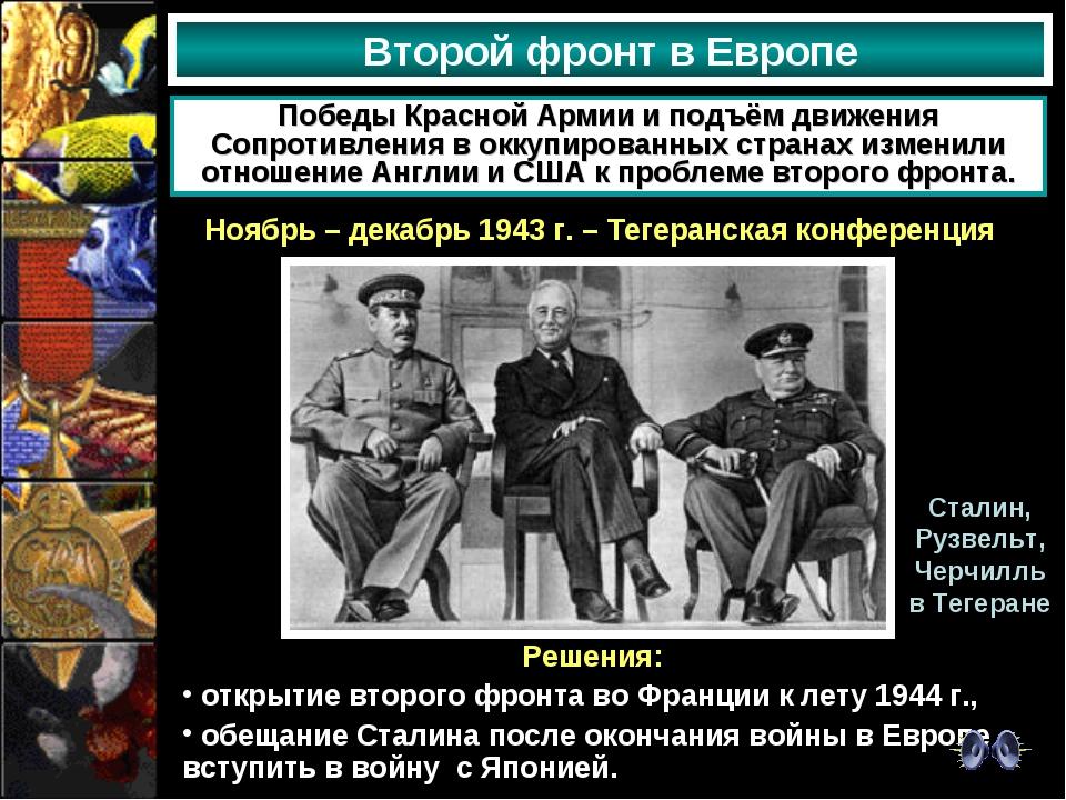 Второй фронт в Европе Победы Красной Армии и подъём движения Сопротивления в...