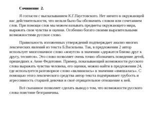 Сочинение 2. Я согласен с высказыванием К.Г.Паустовского. Нет ничего в окруж