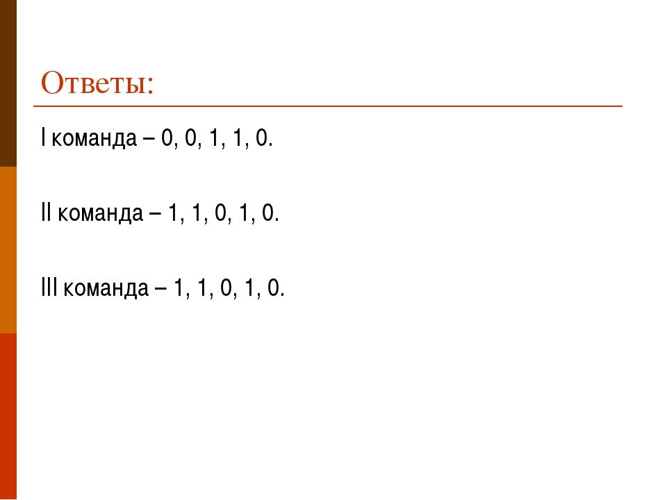 Ответы: I команда – 0, 0, 1, 1, 0. II команда – 1, 1, 0, 1, 0. III команда –...