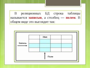 В реляционных БД строка таблицы называется записью, а столбец — полем. В общ