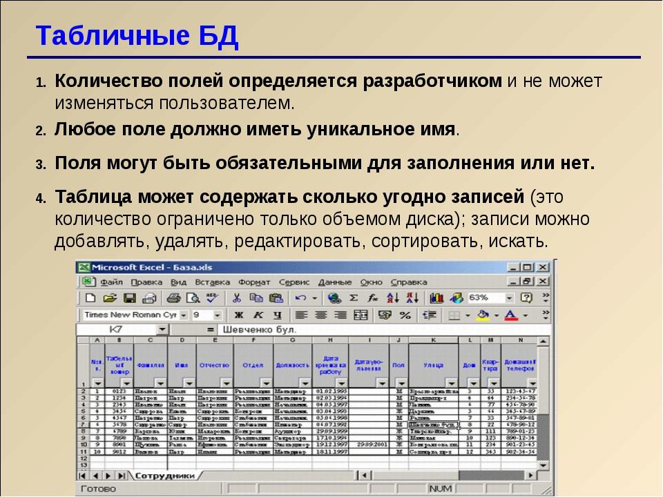 Табличные БД Количество полей определяется разработчиком и не может изменятьс...