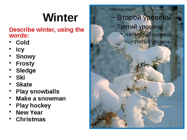 Winter Describe winter, using the words: Cold Icy Snowy Frosty Sledge Ski Sk...
