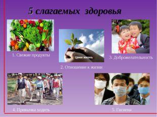 5 слагаемых здоровья 1. Свежие продукты 2. Отношение к жизни 5. Гигиена 3. До