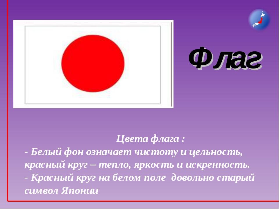 Флаг Цвета флага : - Белый фон означает чистоту и цельность, красный круг – т...