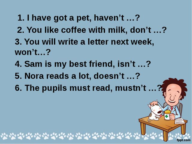 I have got a pet, haven't I? 2. You like coffee with milk, don't you? 3. She...