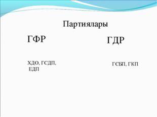 Партиялары ГФР ГДР ХДО, ГСДП, ЕДП ГСБП, ГКП