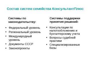 Состав систем семейства КонсультантПлюс Федеральный уровень Региональный уров