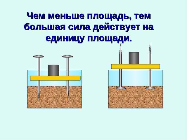 Чем меньше площадь, тем большая сила действует на единицу площади.