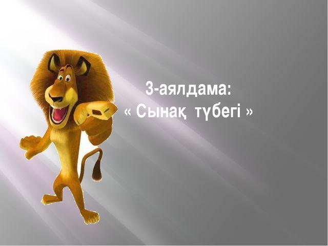 3-аялдама: « Сынақ түбегі »