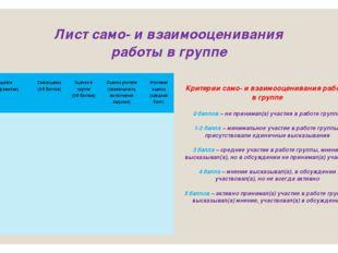 Лист само- и взаимооценивания работы в группе Критерии само- и взаимооцениван