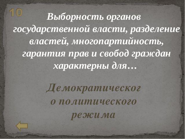 Выборность органов государственной власти, разделение властей, многопартийнос...