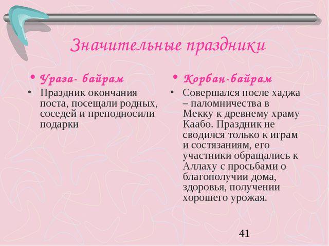 Значительные праздники Ураза- байрам Праздник окончания поста, посещали родны...