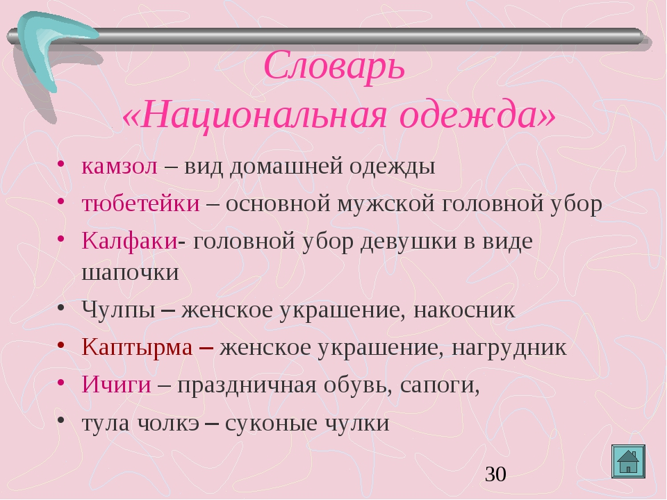 Словарь «Национальная одежда» камзол – вид домашней одежды тюбетейки – основн...