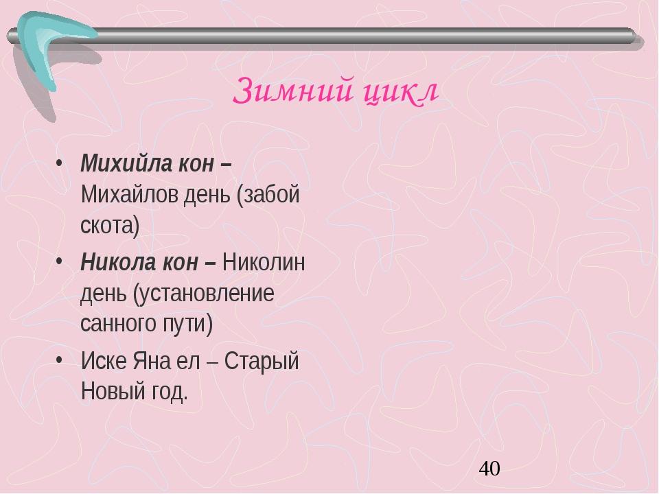 Зимний цикл Михийла кон – Михайлов день (забой скота) Никола кон – Николин де...