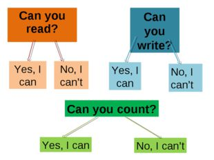 Can you read? Yes, I can No, I can't Can you write? Yes, I can No, I can't Ca