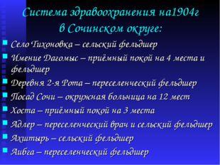 Система здравоохранения на1904г в Сочинском округе: Село Тихоновка – сельский