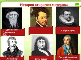 История открытия материка Джон Кабот ( Джованни Кабото) Эрна́н Корте́с Генри