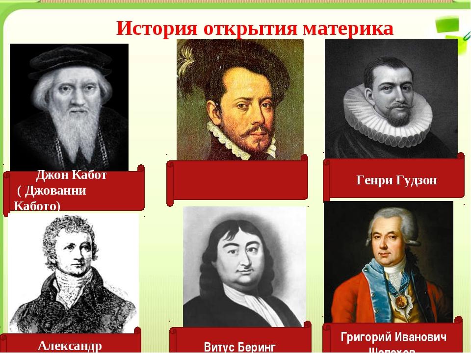 История открытия материка Джон Кабот ( Джованни Кабото) Эрна́н Корте́с Генри...