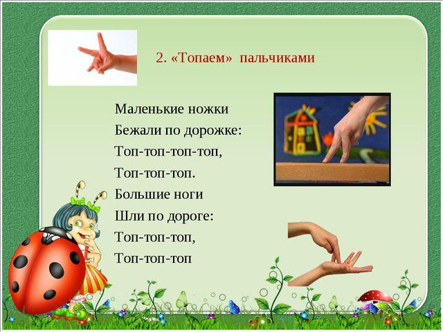 2. «Топаем» пальчиками Маленькие ножки Бежали по дорожке: Топ-топ-топ-топ, То...