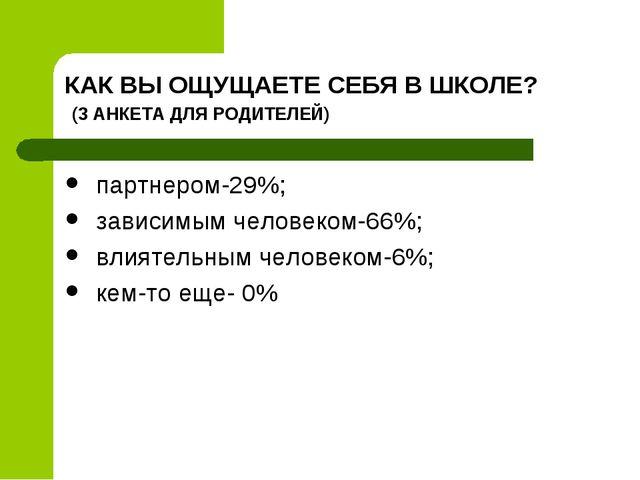КАК ВЫ ОЩУЩАЕТЕ СЕБЯ В ШКОЛЕ? (3 АНКЕТА ДЛЯ РОДИТЕЛЕЙ) партнером-29%; зависим...