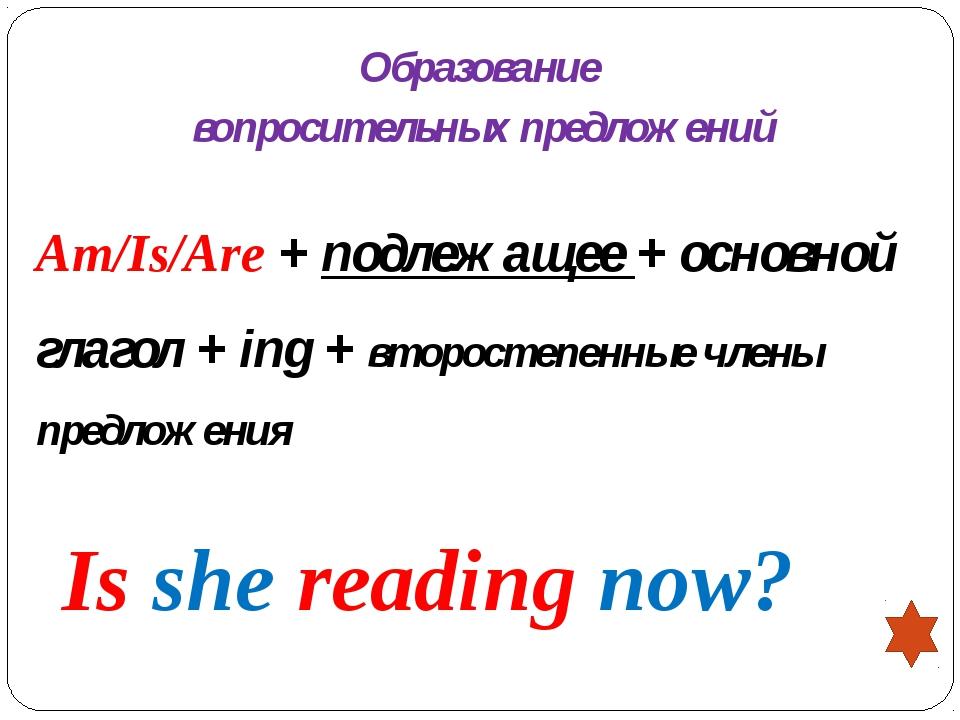 Образование вопросительных предложений Am/Is/Are + подлежащее + основной глаг...