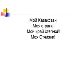 Мой Казахстан! Моя страна! Мой край степной! Моя Отчизна!